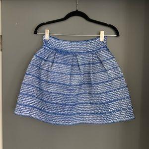 Blue & silver peplum skirt
